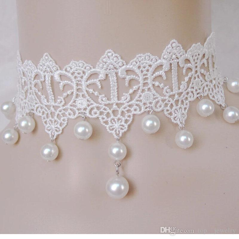 القوطية الجنية الجمال النقي الدانتيل الأبيض اللؤلؤ قلادة فستان العروس طوق كاذبة القلائد سلسلة مجوهرات الترقوة