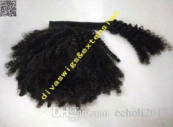 Kinky Curly Drawstring Ponytail pinza de cabello en negro natural Virgin mongolian ponytail Extensiones de cabello 10-20 pulgadas afro Pony tail
