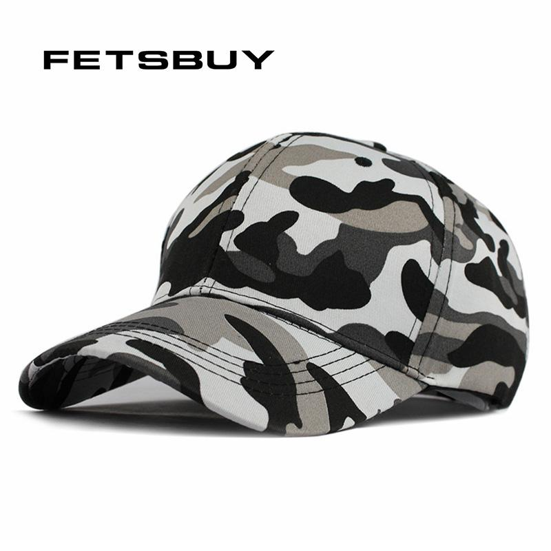Wholesale- FETSBUY Mens Army Camo Cap Baseball Casquette Camouflage Hats For Men Hunting Camouflage Cap Women Blank Desert Hat