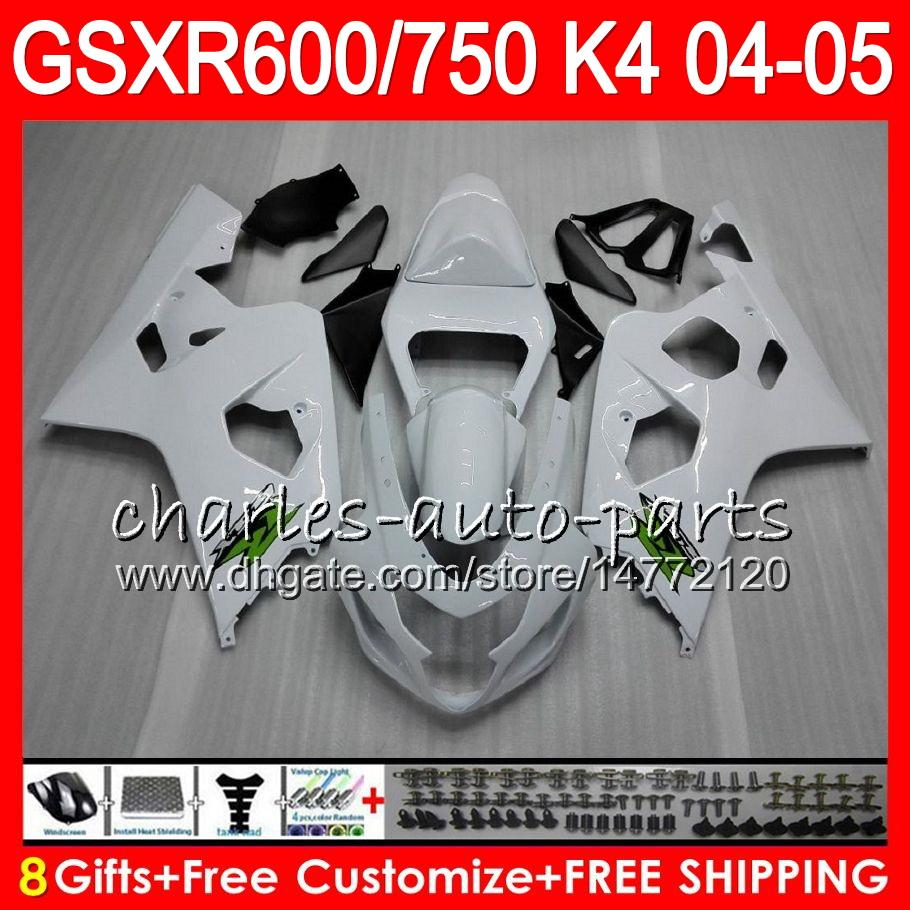 Glans vit 8 gåvor 23 färger Kropp för SUZUKI GSX-R600 GSXR750 GSXR600 04 05 9HM27 GSX R600 R750 K4 GSX-R750 GSXR 600 750 2004 2005 Fairing