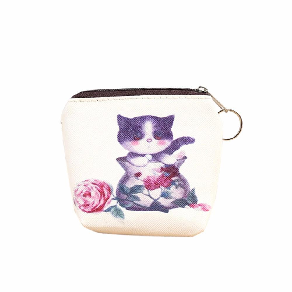 Wholesale- Cute Cat Print Coin Purse 2016 Women Girl Leather Zipper Coin Purses Key Card Holder Bag Lady Wallet