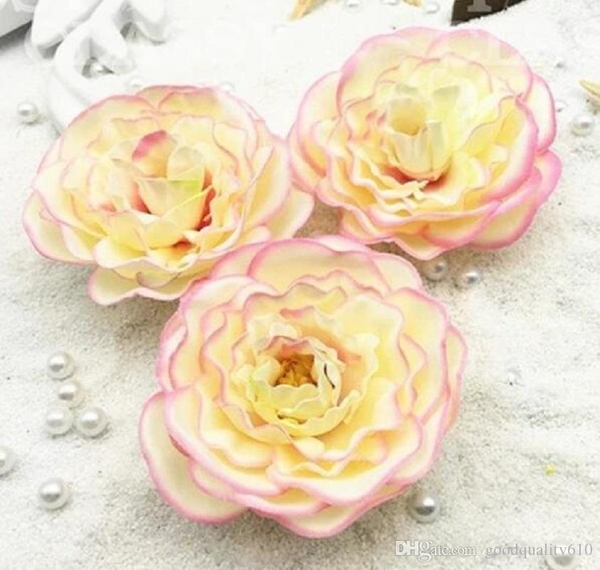 8cm teste di fiori artificiali della camelia oggetti di scena di nozze bouquet da sposa decorazione dell'ufficio a casa
