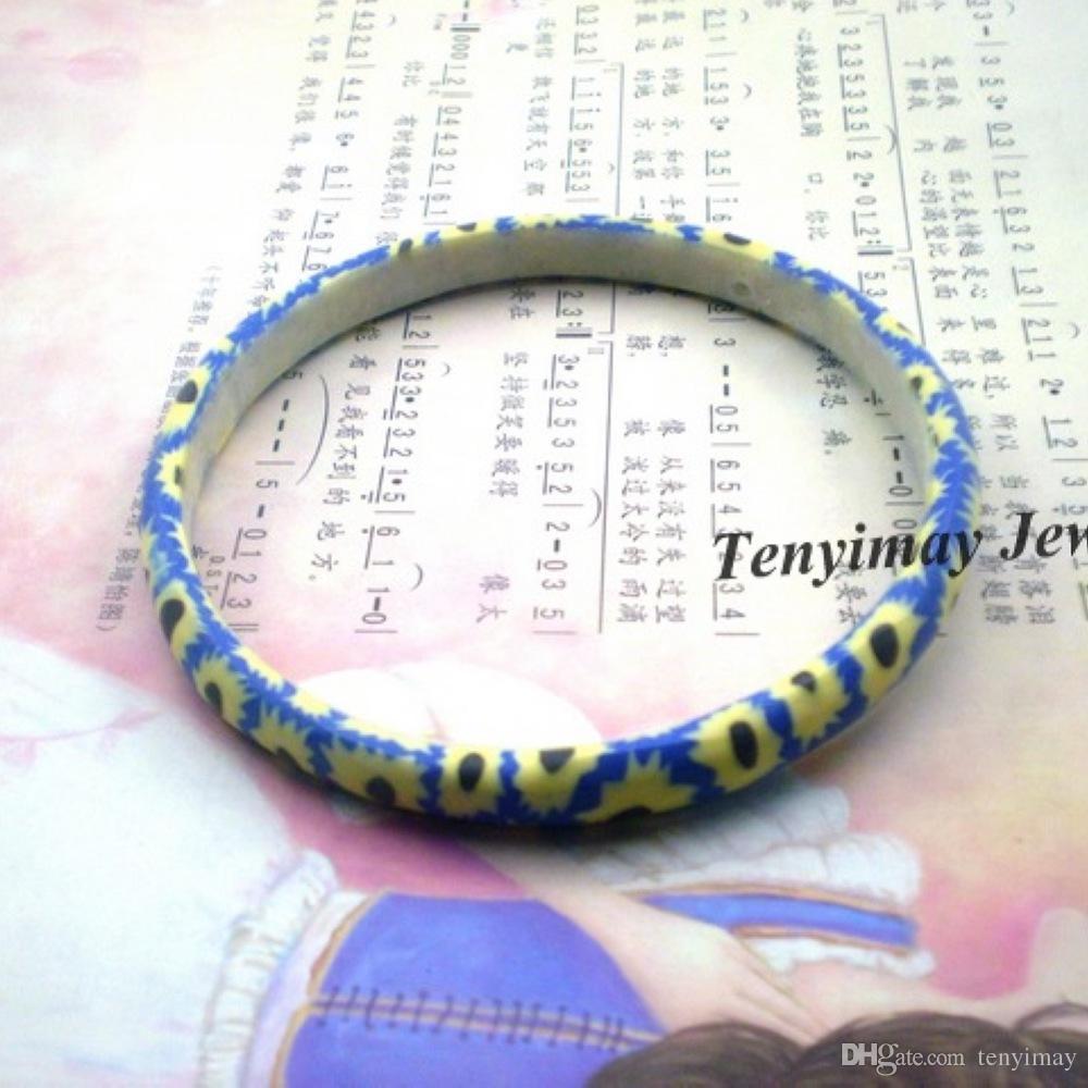 Смешанный цвет Богемный стиль печатных полимерной глины браслет для девочек 8 мм ширина Оптовая 24 шт. / лот