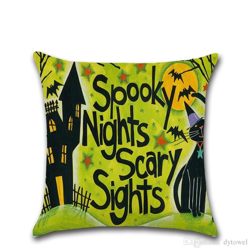 Halloween Pumpkin Little Witches Throw Pillow Cushion Covers Cartoon Halloween Linen Decorative Pillow Covers Cushion Cases Festival Gifts