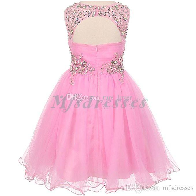 2017 New Teal Tulle Short Girls Pageant Dresses Knee Length Beading Flower Girl Dress Kids Prom Evening Gowns Girls Formal Party Dresses