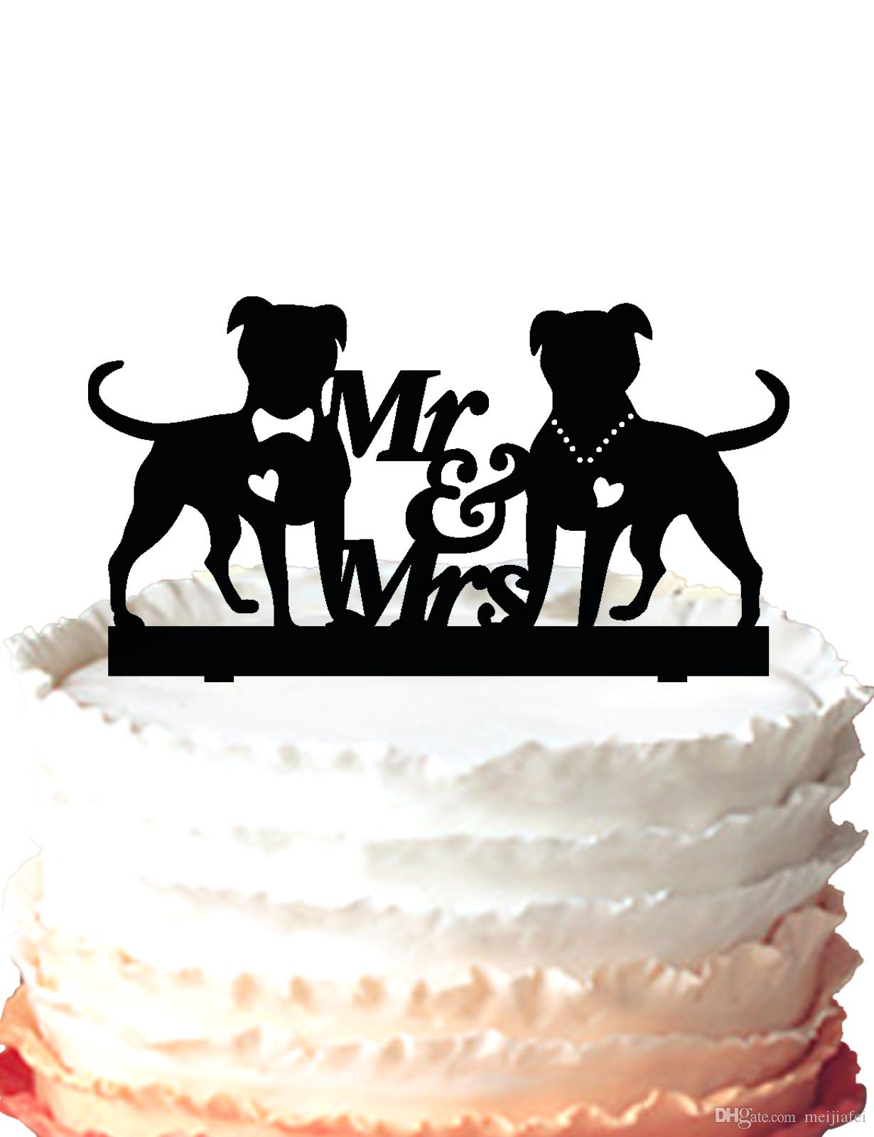 2018 Dogs Wedding Cake Topper,Mr And Mrs Silhouette Wedding Cake ...