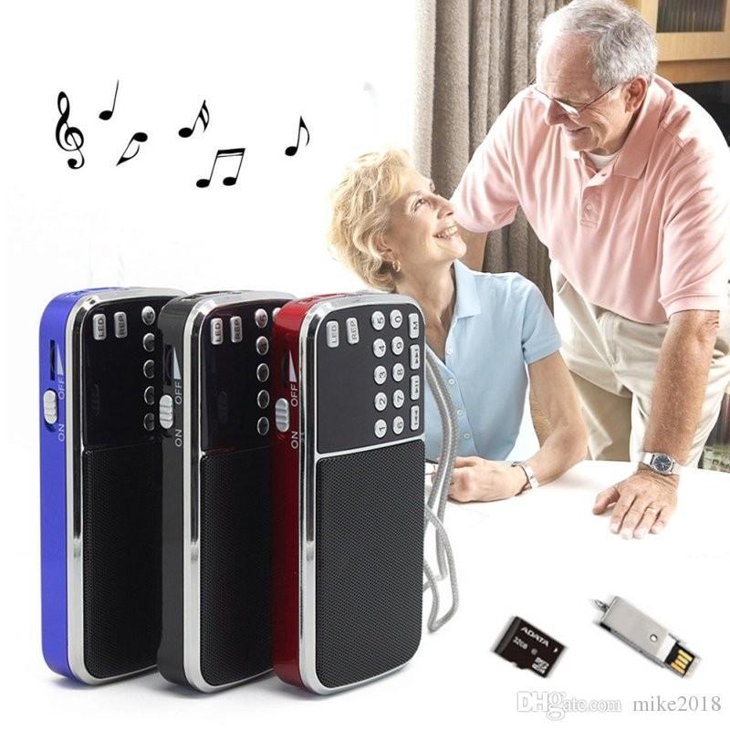 2017 Nova Chegada Portátil Digital Stereo FM Mini Speaker Music Player de Rádio com Cartão TF USB AUX Entrada Caixa De Som Azul Preto Vermelho