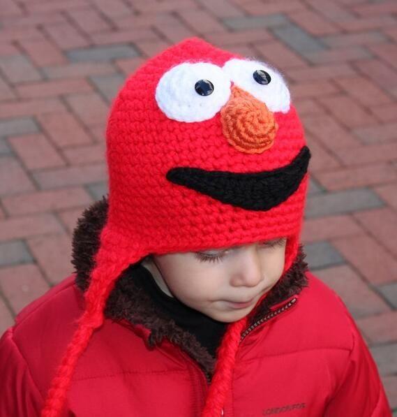 Großhandel Sesame Straße Cookie Monster Elmo Häkelanleitung Hut Baby