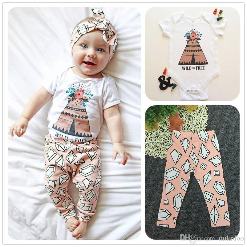 Mikrdoo 2017 Newborn Fashion Baby Clothes Suit Wild Free Pyramid Print Rompers Rhombus Pants Kids Cotton Set Cute Top Outfits 2PCS Wholesale