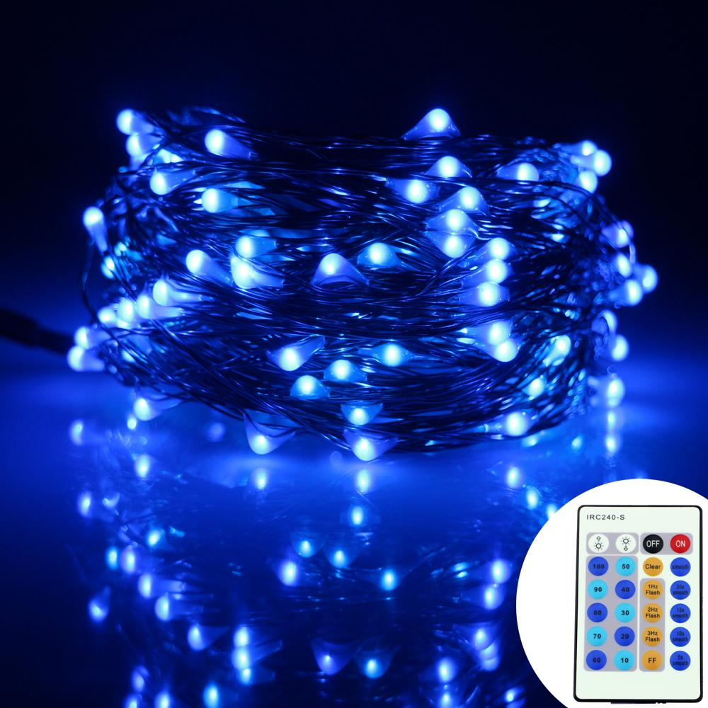 wholesale 15m 150leds copper wire led string lights decoration christmas party starry lights12v adapter24key remote control and dimmer dimmer switch