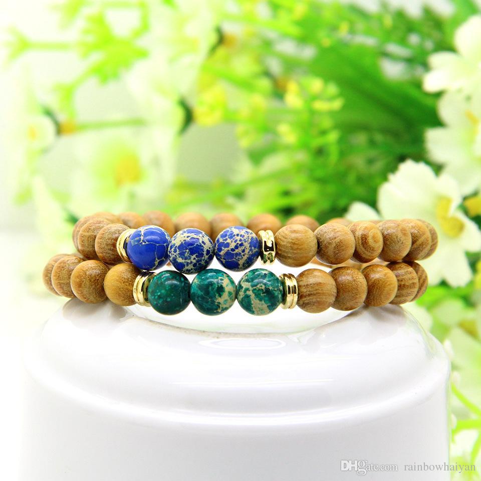 مجوهرات 8MM الطبيعة الخشب مع اليوغا هدية ميكس البحر اللون الرواسب الامبراطوري ستون الخرز الإمتداد الطاقة أساور عالية الجودة