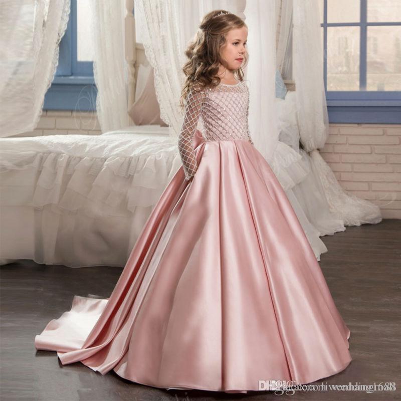 2017 Nueva Encantadora Encaje Princesa Niña Bebé Flor Vestidos de las muchachas Sheer Crew Neck Little Cap Mangas Backless Vestidos del desfile de la muchacha formal