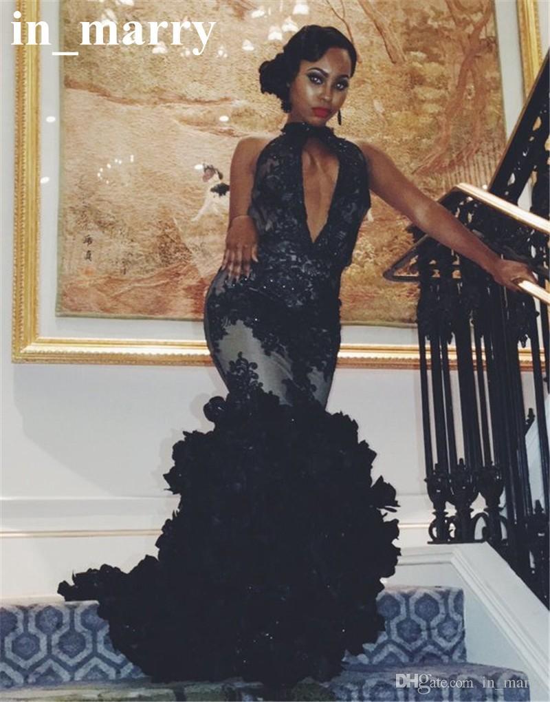 Sexy Black 3d Flower Mermaid Prom Dresses 2017 Trumpet