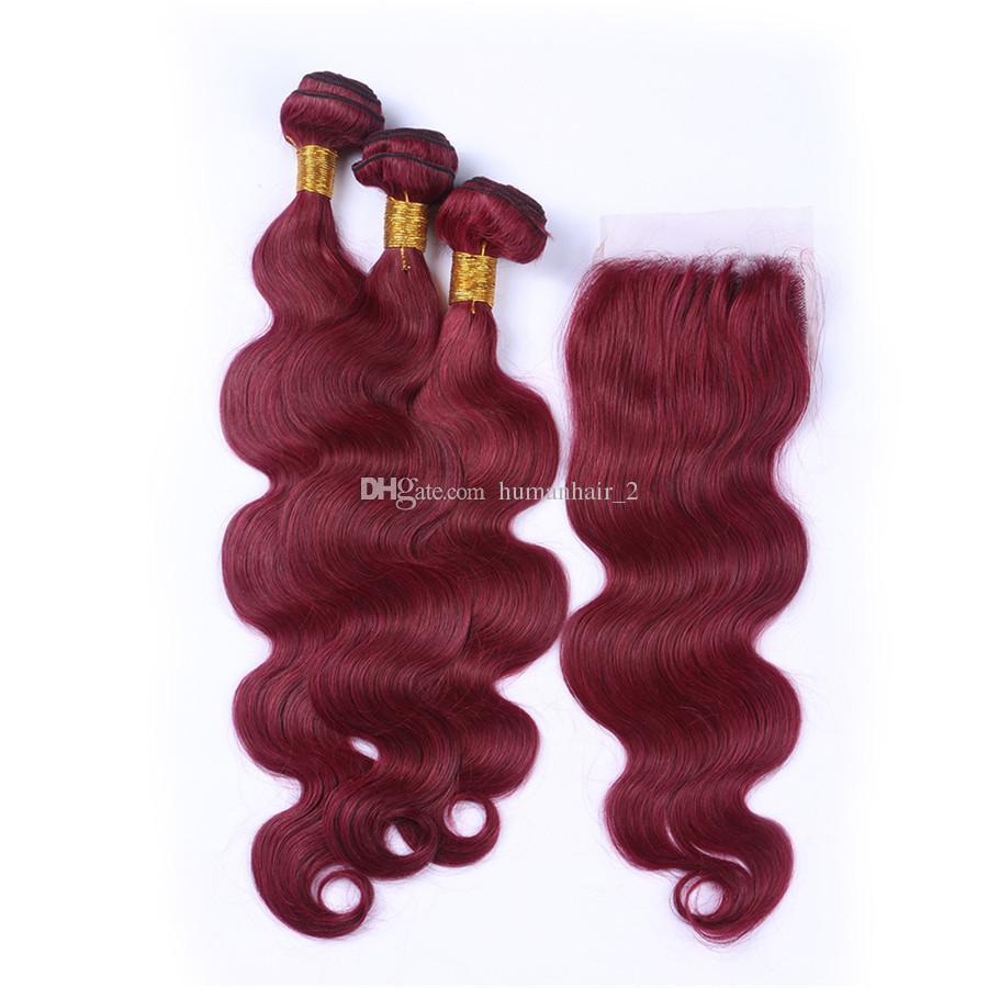 8A Sınıf Brezilyalı 99J Bordo Saç Örgüleri Ile Dantel Kapatma Şarap Kırmızı Vücut Dalga İnsan Saç Paketler 4X4 Dantel Kapatma Ile 4 Adet