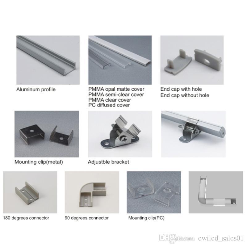 50 X 2M set / lotto Profilo in alluminio a forma di U profilo a led piatto quadrato in alluminio profilo alloggiamento lampada da incasso a parete