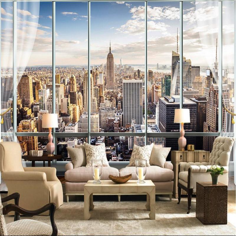 Wholesale Custom Photo Wallpaper 3D Stereo Large Murals Modern False  Windows Living Sofa Bed Bedroom New York Flash Silver Cloth Wallpaper