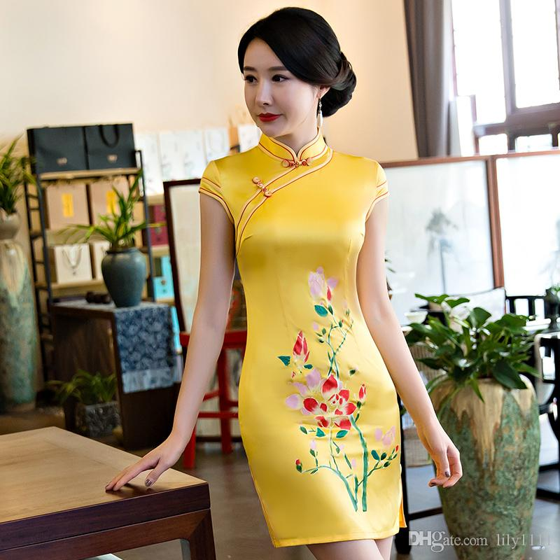 Shanghai Story Faux Silk Shot Cheongsams Qipao Chinese Style Dress ... 480dcdce0