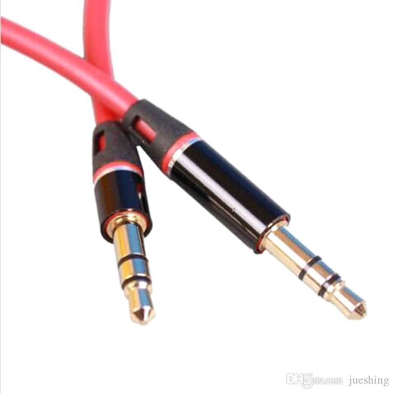 3.5mm mâle à mâle 1m stéréo audio jack auxiliaire câble auxiliaire pour iphone pour ipod mp3 blanc noir rouge gros 1000ps /