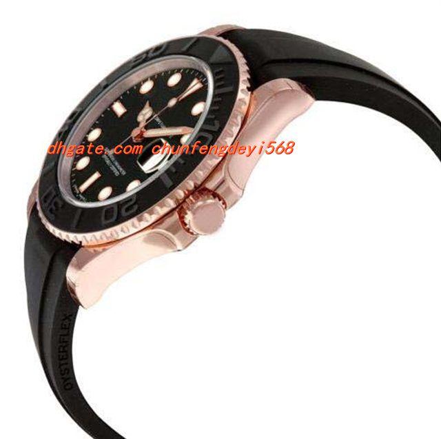 Fashion Luxury Wristwatch Automatic Black Dial 18kt Everose Gold Rubber Strap 40mm Men Watch Men's Watch Watches