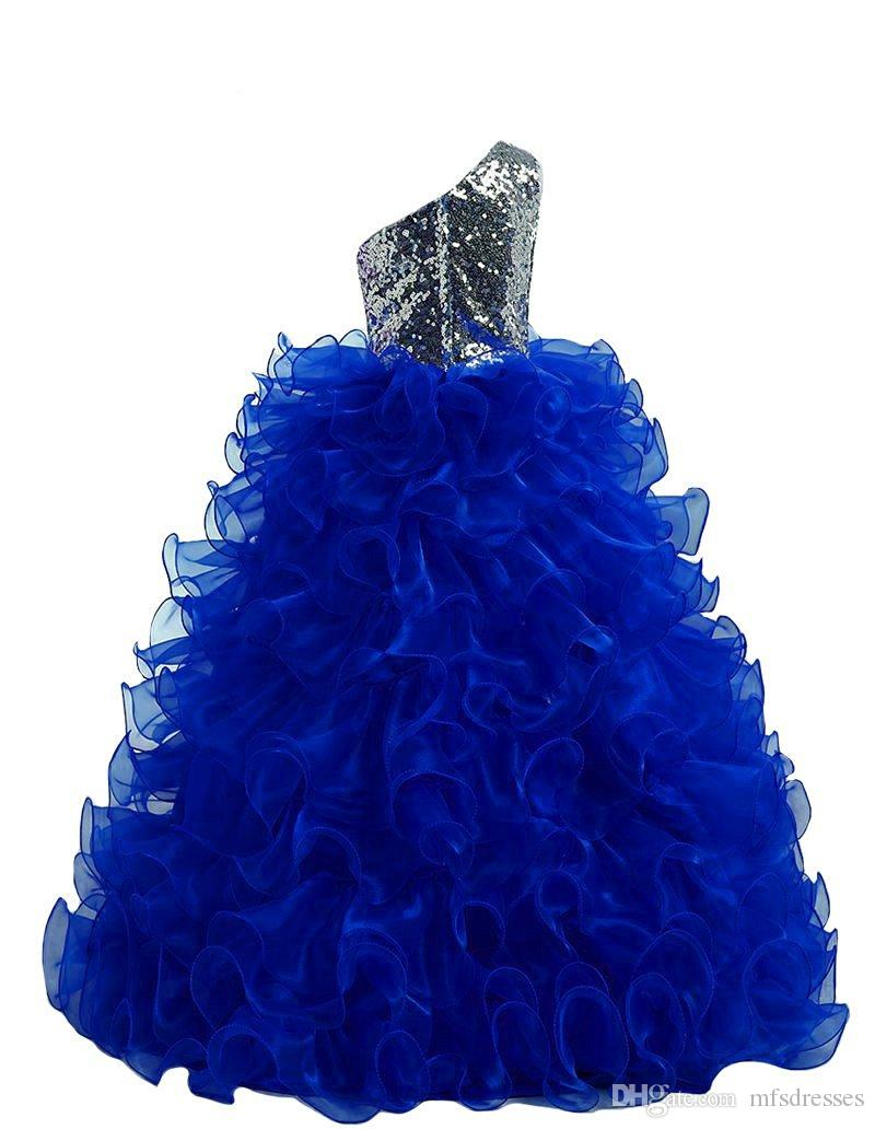 Lentejuelas plateadas Vestidos para niñas de flores 2016 Vestido de fiesta Ruffles Organza Longitud del piso Sexy Un hombro Formal Kids Pageant Dress Girls