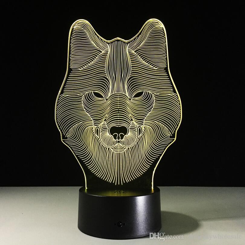 Regalo di Natale 3D a forma di lupo a forma di lupo Testa notturna a LED i Change Touch Lampada da comodino bambini