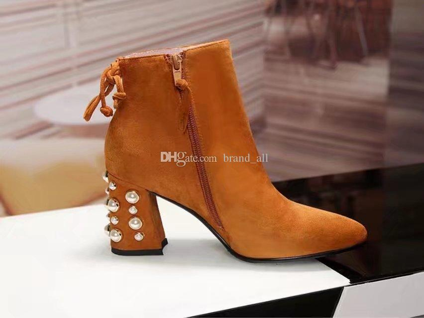 c5b85b60b16a Brown Black Back Lace Up Martin Boots Female Pointed Toe Pearl Heels ...