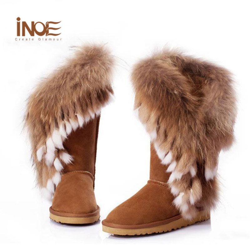 7da5f156a0083c Wholesale Real Fox Fur Boots Natural Rabbit Fur Womens Leather Furry Winter  Boots Shoes Woman Chestnut Knee High Winter Boots Size 9 Shoe Sale Pumps  Shoes ...