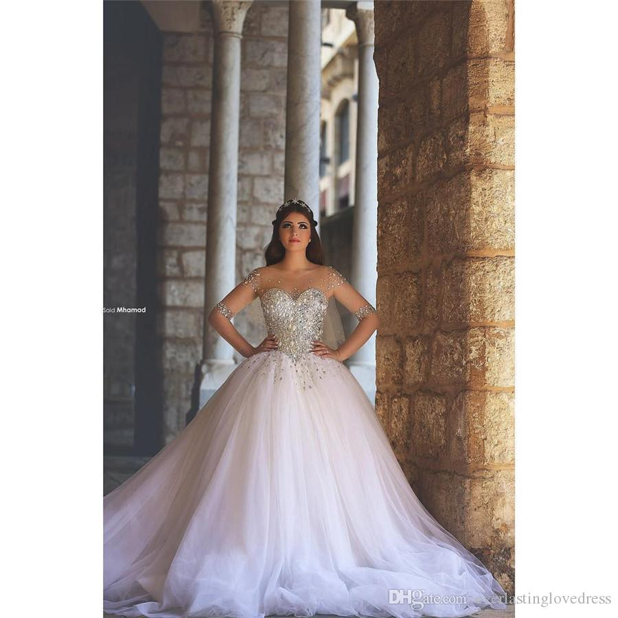 Saidmhamad Sheer Sweetheart Heavy Crystals Ball Gowns Long Sleeves Wedding Dress In Stock Bridal Dress vestido de noiva
