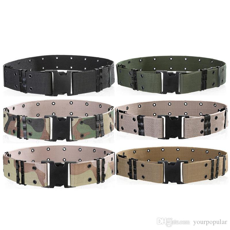 Men s Wide Tactical Belts Plastic Insert Buckle Military Nylon Outdoor  Hiking Mountain Camouflage Designer Belts Army Tactical Belts for Men