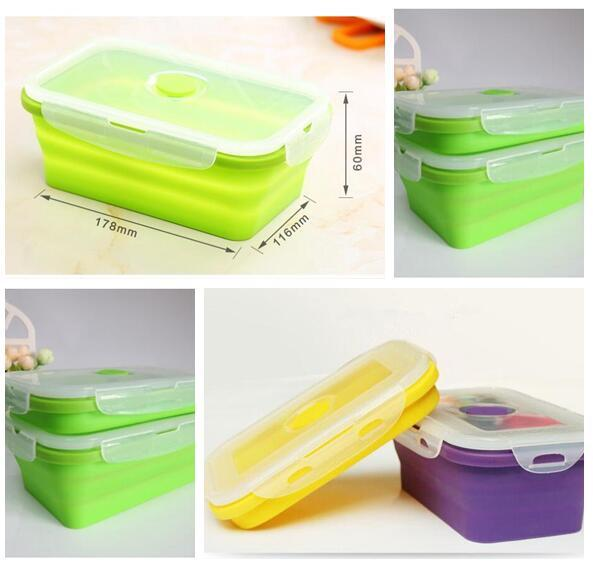 Online Cheap Silicone Lunch Bento Box Stackable Food Portable