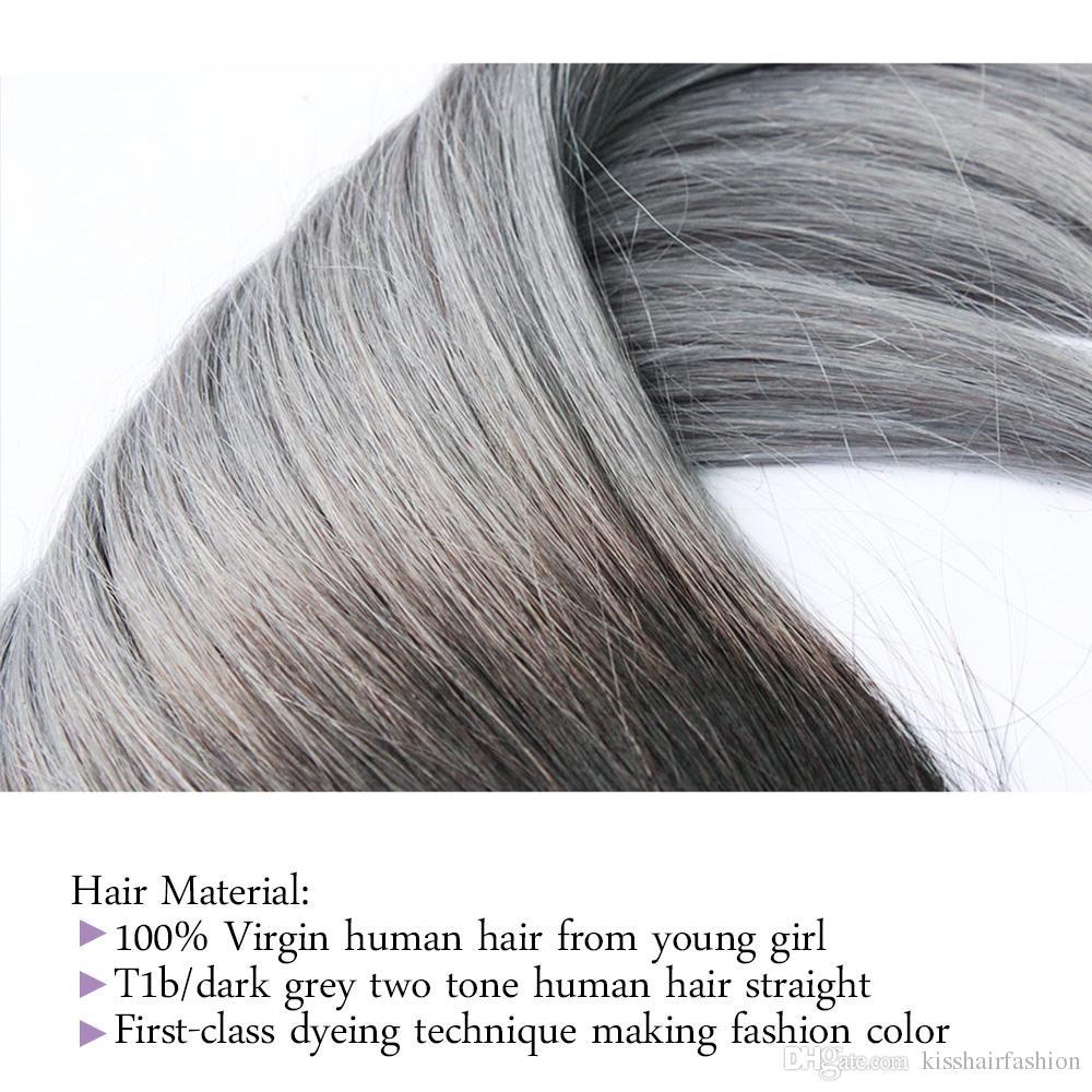 300g Iki Ton T 1B Koyu Gri Ombre İnsan Saç Dokuma Paketler Kaliteli Renkli Brezilyalı Perulu Malezya Hint Düz Saç uzatma