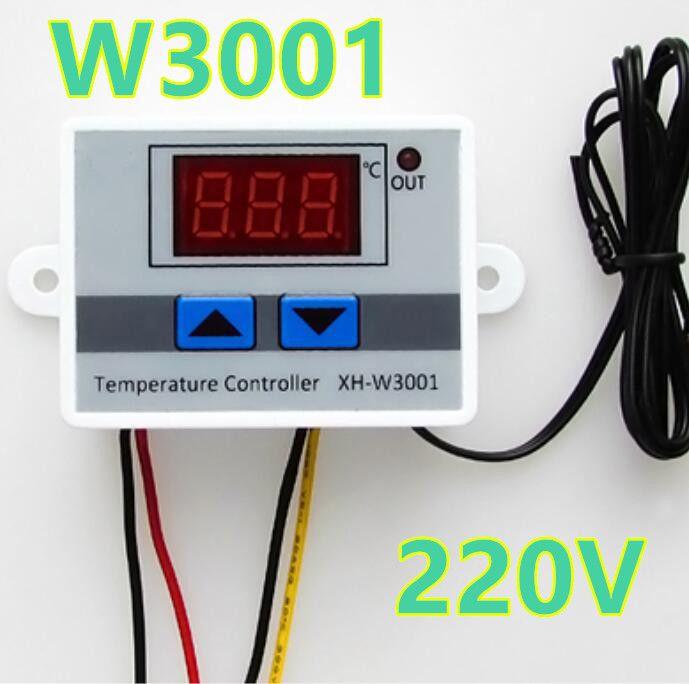 10pcs/lot W3001 Digital LED Temperature Controller 10A heat cool temp  Thermostat Control Switch Probe 220V