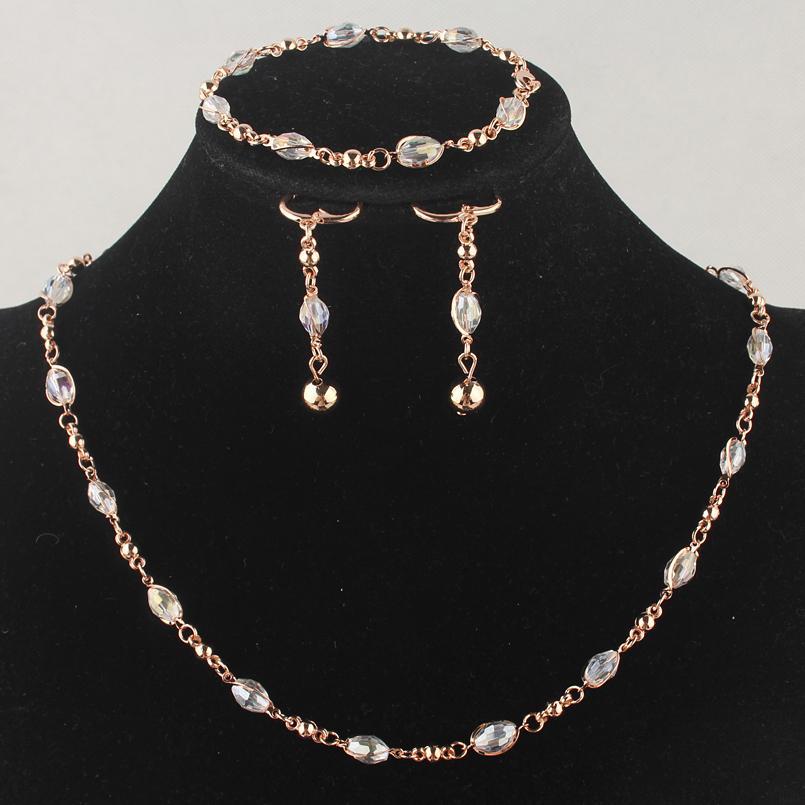 Moda das Mulheres de Ouro-cor Limpar Cristal Austríaco Colar Pulseira Brincos de Casamento / Noiva Conjuntos de Jóias Presente