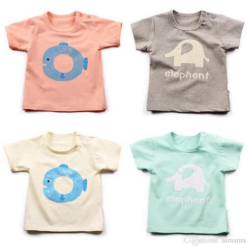 c9286644010 2019 Wholesale Summer Baby T Shirt Boys Girls Cats And Fish Cartoon Clothing  T Shirts Short Sleeve Kids Clothing Baby Clothes From Aimama