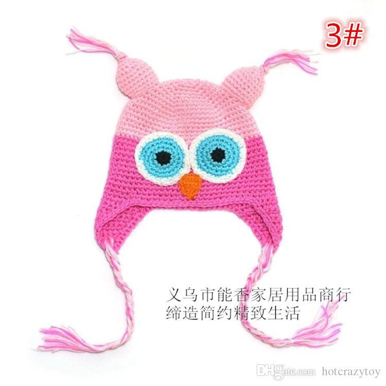 Toddler Owl Crochet Knit Woolly EarFlap Hat Baby Handmade crochet Hat childrens handmade owl Knitted hat For Choose 0-2T