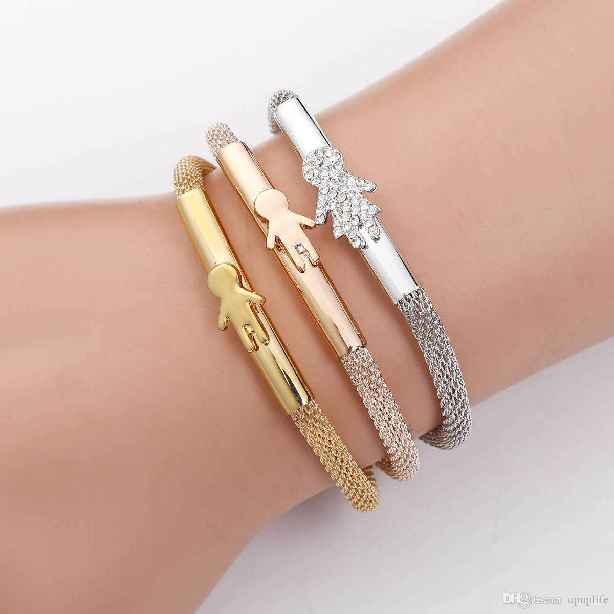 a21c411fa 2019 Fashion Simple Crystal Diamond Cartoon Characters Bracelet Stretch Bracelet  Silver Gold Rose Gold Three Piece From Upuplife, $2.9 | DHgate.Com