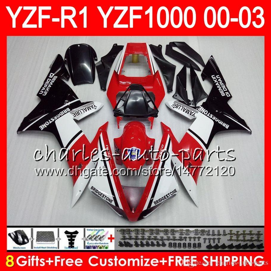8Gift 23Farbe Körper Für YAMAHA YZF1000 YZFR1 02 03 00 01 YZF-R1000 62HM6 YZF 1000 R 1 YZF-R1 YZF R1 2002 2003 2000 2001 Verkleidung Heiße Rot schwarz