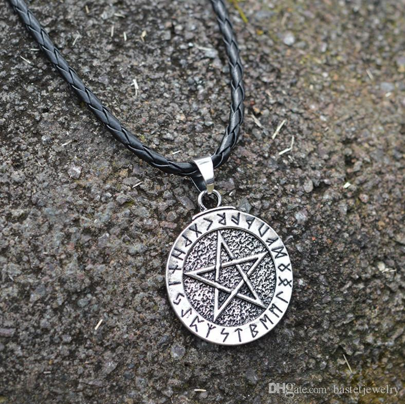 New Norse Vichinghi Collana con pendente Pentagram Pentacle Star Pewter Wicca Collana con pendente Rus Amulet Charm Ancient Talisman Collane