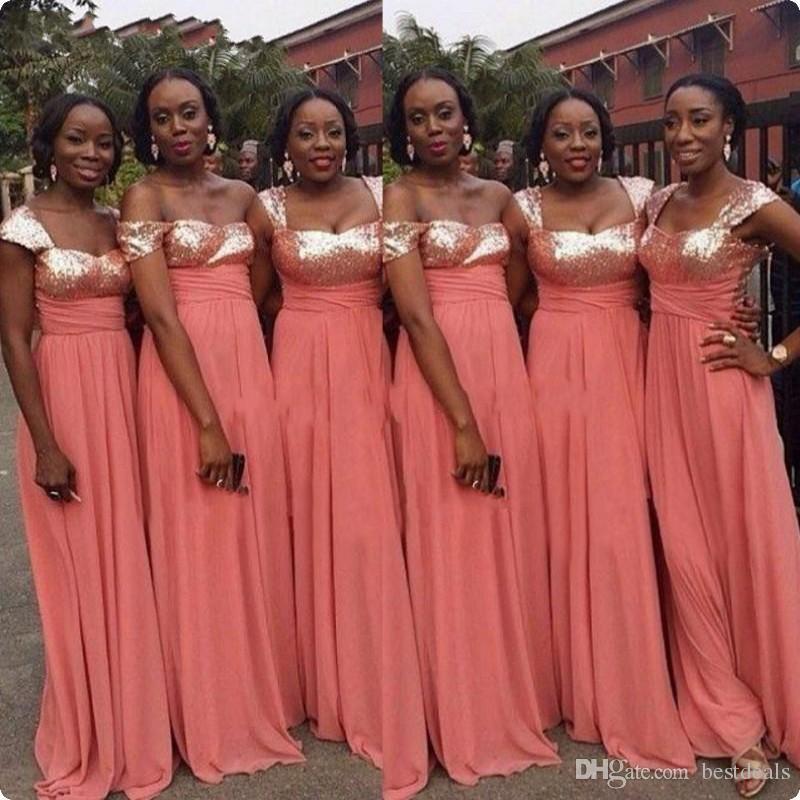 2017 African Black Gilrs Vestidos de dama de honor para la fiesta de bodas Lechas largas Plus Size Strap Chiffon Adulto Gilrs
