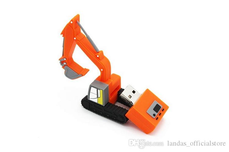 New USB flash drive 16GB Excavator PVC U disk Custom logo high-end AD gifts Truck Pendrive 4GB 16GB 32GB 64GB Special car Pen driver for man
