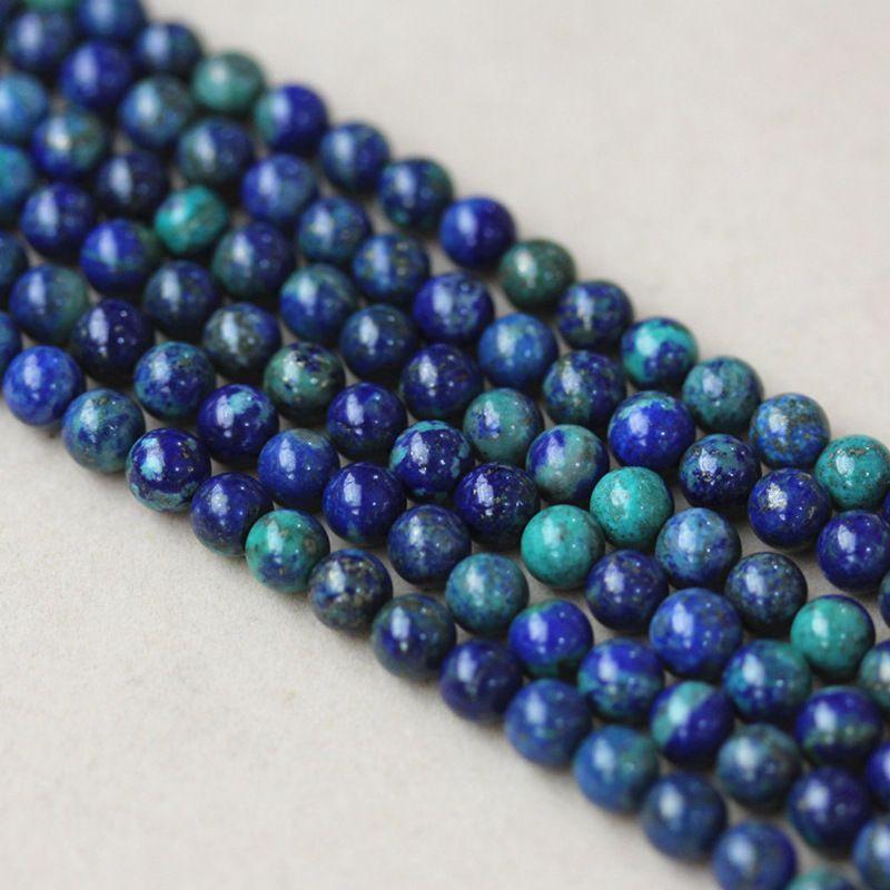 190ad3ba1713 Compre Piedra Natural De Alta Calidad Crisocola Lapislázuli Redondo Perlas  Sueltas 4 6 8 10   12mm Fabricación De Joyas Pulsera Diy Beads A  12.56 Del  ...