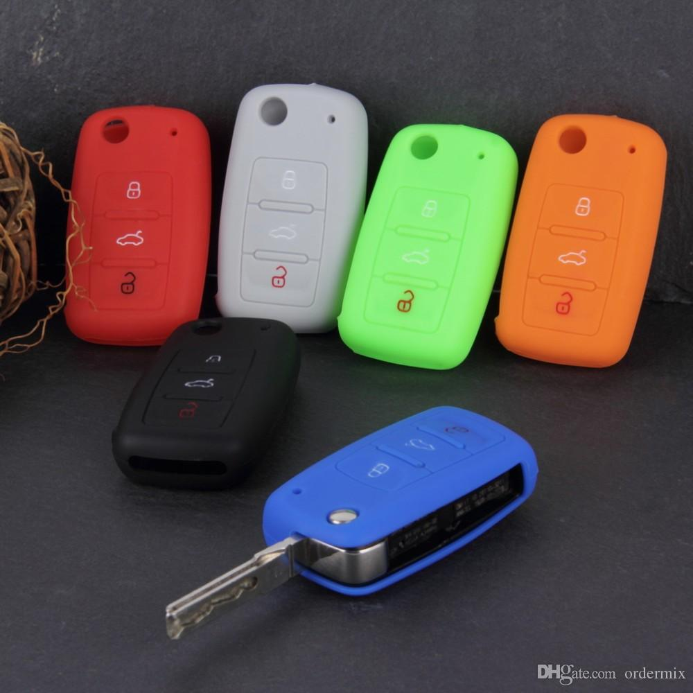 Ilicone автомобиль ключ держатель чехол чехол конфеты цвет турмы делать Chaves Case автомобильные аксессуары для Volkswagen VW