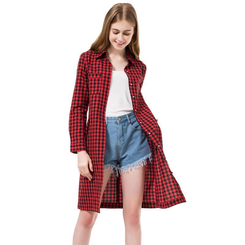 7ba6ee5f504c Compre Primavera Mulheres Longas Camisas Xadrez Vermelho Blusas Camisa  Longa Vestido Chemise Femme Longue Camisas Da Moda Vestido De Roupas  Femininas Outono ...