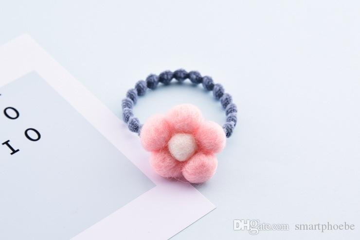 Boutique Fashion Cute Felt SunFlower Elastic Hair Bands Solid Kawaii Floral Girls Rubber Gum Rope Headware Accessories