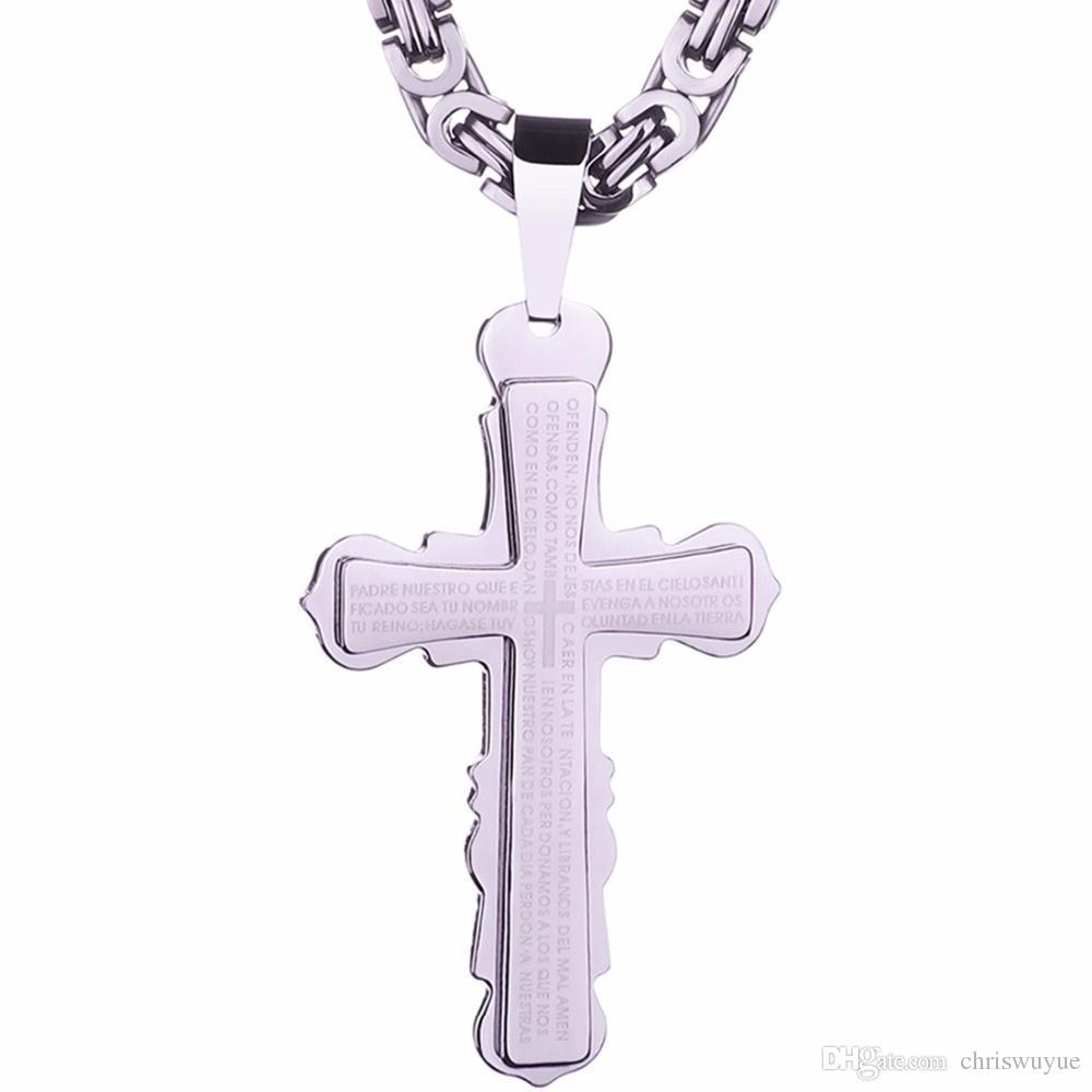 Vintage spanische Bibel Gold und Silber Schwarzton Edelstahl Jesus Herren Kreuz Männer Anhänger Halskette Kette Schmuck NP61