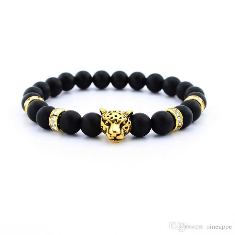 New rhinestone bracelet Natural Stone Alloy silver gold leopard 8 mm beads with volcanic rock men Jewelry Lava Yoga Bracelets gift