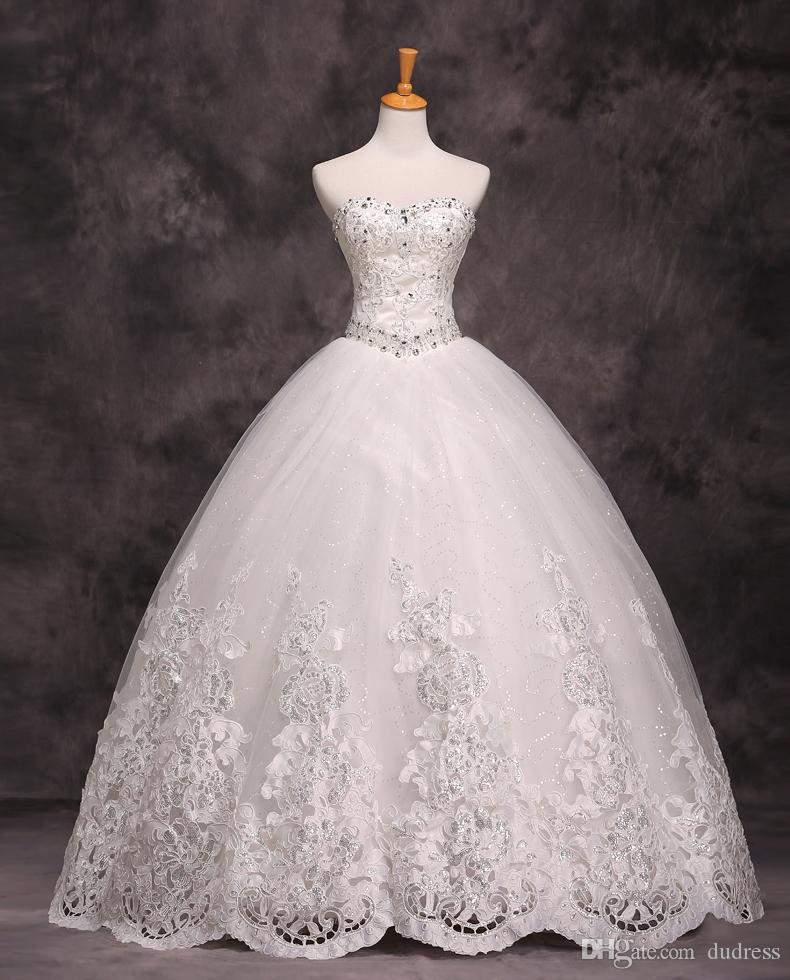 Elegant Ball Gowns Empire Strapless Wedding Gowns Beads Lace ...