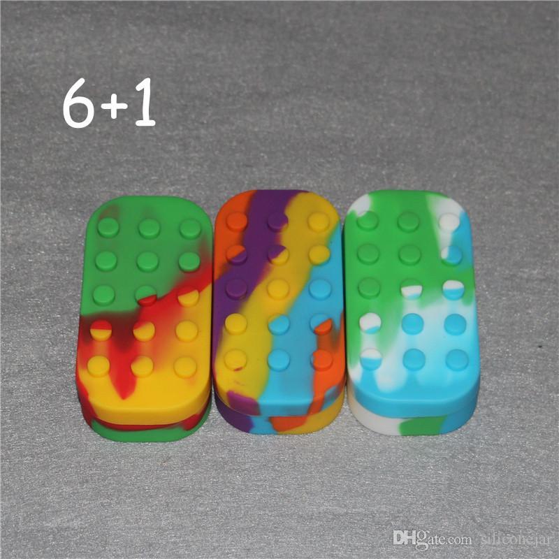 왁스, 실리콘 왁스 단지 소량 컨테이너 최신 다채로운 왁스 컨테이너 큰 실리콘 병 용기 6 + 1 실리콘 contianer