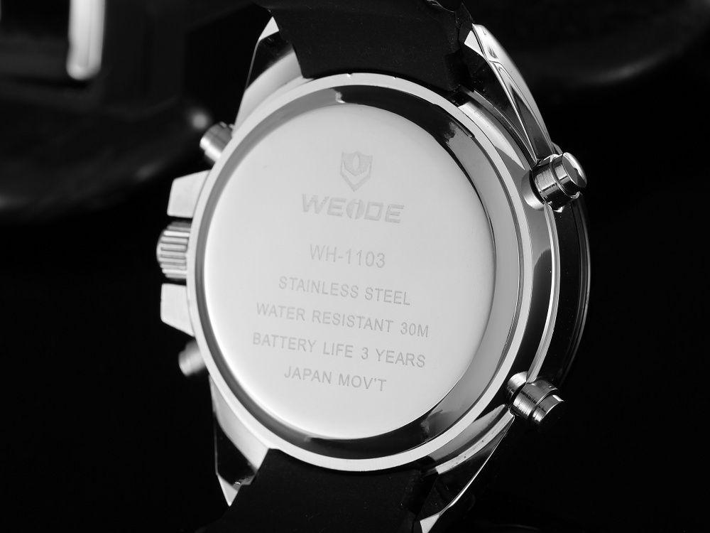Weide marca nueva llegada moda cuarzo reloj digital hombres reloj negro hombre correa de caucho masculino Relogio militar reloj masculino reloj