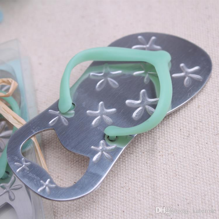 Blue Flip-Flop Bottle Opener with Engraved Star Beach Themed Wedding Favors Sandal Slipper Beer Openers Party Supplies